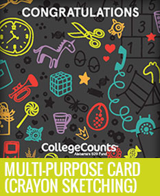 multi-purpose card with crayon sketching pattern